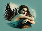 stock photo of fairyland  - 3D computer graphics of a sexy lady with wings - JPG
