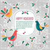 stock photo of olden days  - Birds Christmas banner - JPG