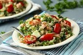 pic of tabouleh  - Tabbouleh salad with quinoa salmon tomatoes cucumbers and parsley - JPG