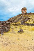 pic of urn funeral  - Funerary towers in Sillustani Peru South America - JPG