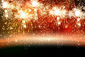 foto of happy new year 2014  - Happy New Year and christmas vector celebration fireworks background easy all editable - JPG
