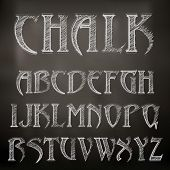stock photo of punctuation  - Vector Sketched Chalky Alphabet On Blackboard background - JPG