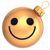 stock photo of clown face  - Christmas ball smiley face gold Happy New Year bauble smile face avatar decoration happiness funny friendly icon - JPG