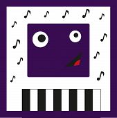 stock photo of character traits  - Amazing illustration with fun monster which is playing piano - JPG