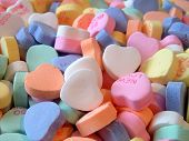 picture of valentine candy  - Detailed image of traditional hard candy hearts - JPG