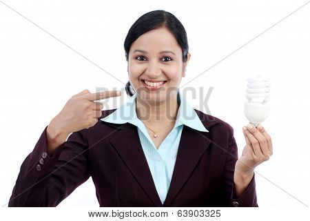 Young Indian Business Woman Holding Bulb