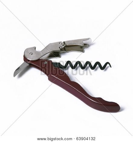 Metallic Cork Screw Isolated On White.