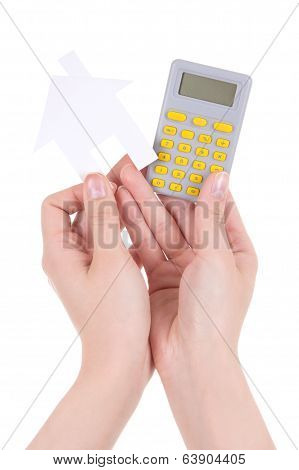 Woman Hands Holding Pocket Calculator And Paper House Isolated On White