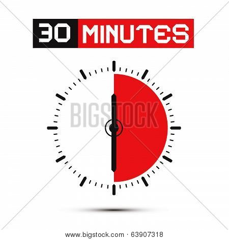 Thirty Minutes Stop Watch - Clock Vector IllustrationPrint
