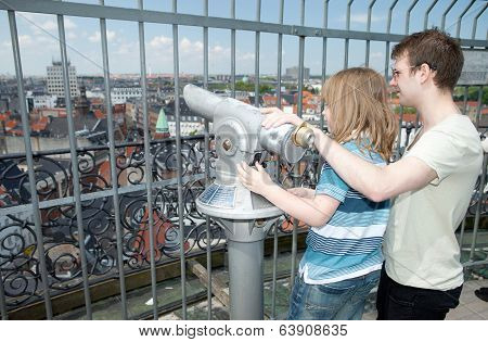 Sightseeing Lookout Binoculars Copenhagen Child Tourist