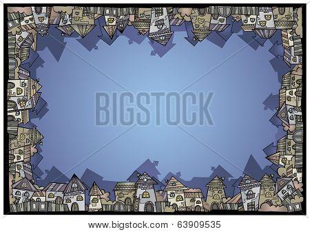 Cartoon vector construction isolated town border