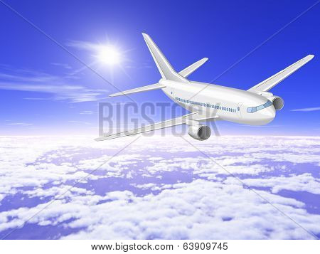 Airplane Is In The Sunny Sky Above The Clouds.