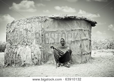 TANZANIA, AFRICA-FEBRUARY 9, 2014:Review of daily life of local Masai  people on February 9, 2014. Tanzania.