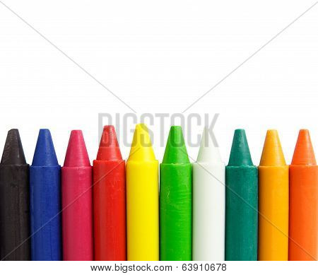 Wax Crayons On White Background