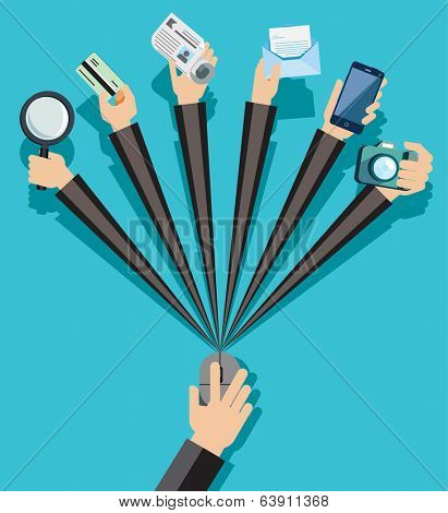 Hands with shopping and business elements isolated on colored computer monitor