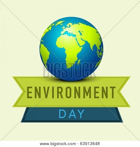 World Environment Day concept with mother earth globe and stylish text blue and green ribbons.