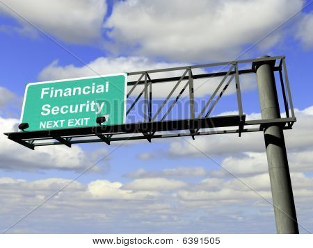 Financial Security Exit Highway Sign