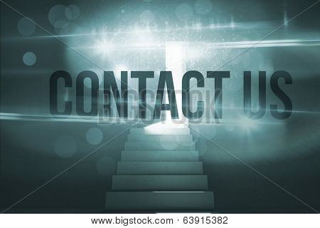 The word contact us against steps leading to door showing light