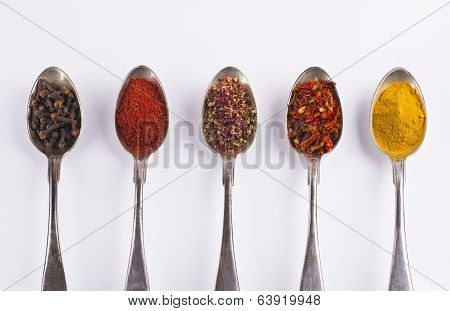Ingredients Spices 4 In Spoons Isolated On White Background