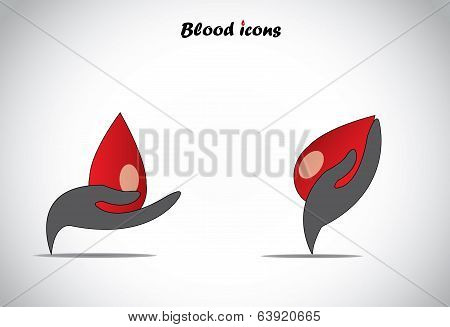Colorful Hand Protecting Conserving Big Drop Of Blood Donate Or Give Blood Concept