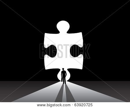 Businessman Silhouette Standing Front Of Jigsaw Puzzle Door