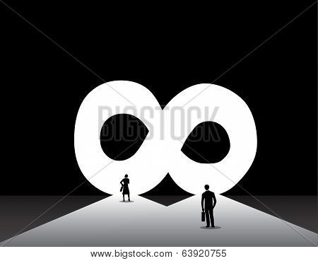 Nicely Dressed Business Man & Woman Standing Front Of Infinite Infinity Door
