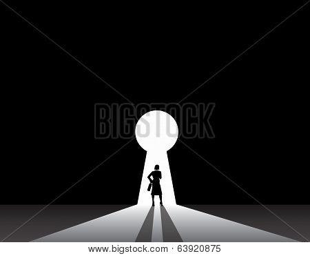 Business Woman Silhouette Standing Front Of Keyhole Door Concept