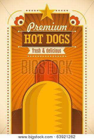 Hot dog poster design. Vector illustration.