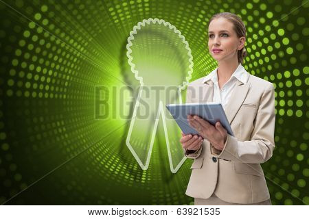 Composite image of merit badge and businesswoman using tablet against green pixel spiral
