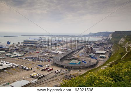 DOVER, UK - APRIL 12, 2014  - Dover port, busiest port of England got the plan to build the Third te