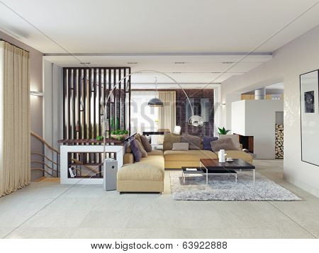 Big and comfortable living room.3D design concept