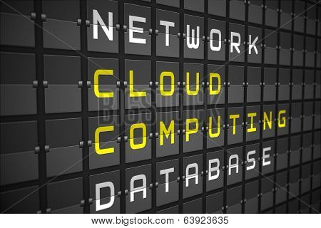 Cloud computing buzzwords on digitally generated black mechanical board
