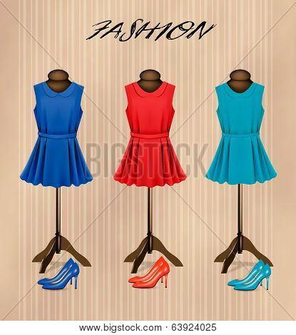 Retro fashion boutique background with colorful dresses and shoes. Vector