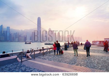Harbour Victoria embankment at sundown in the Hong Kong