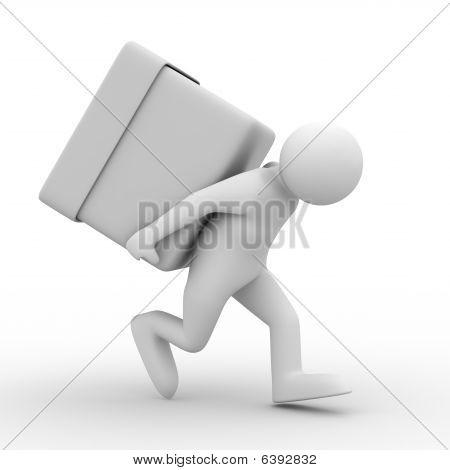 Los hombres llevan la caja en la espalda. Aislado de la imagen 3D