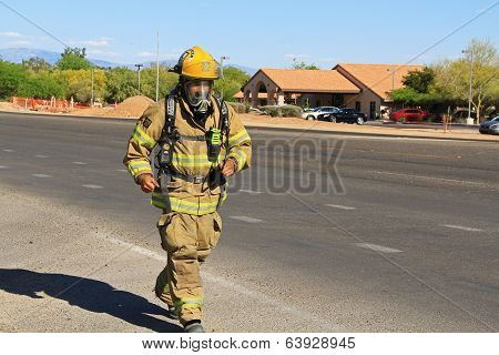 Firefighter Training in Protective Suit