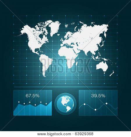 Infographic Dashboard with World Map and Diagrams | EPS10 Vector Design