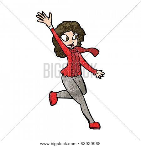 cartoon woman waving dressed for winter