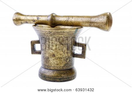 Brass Mortar With A Pestle Isolated On A White Background