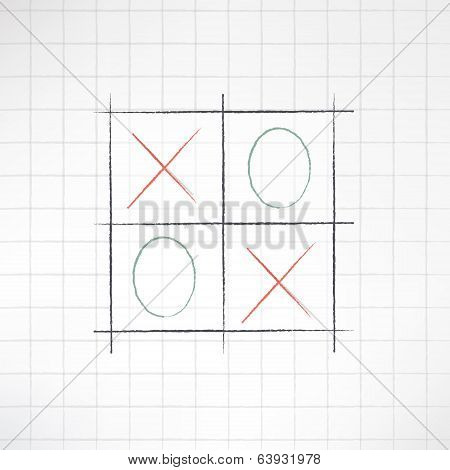 Sketch tic-tac-toe icon made in modern flat design on notebook checked background. Vector illustrati