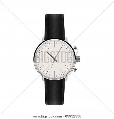 Watch with Leather Strap. Vector