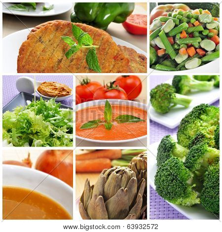 a collage of different vegan meals, such as veggie burgers, gazpacho, onion soup or broccoli