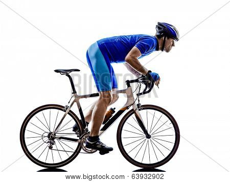 one cyclist road bicycle  in silhouettes on white background