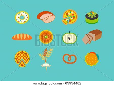 Icon set with pastries. Flat design.