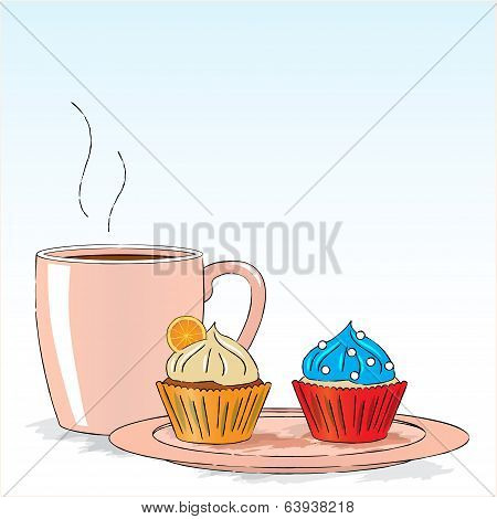Afternoon snack with cupcakes