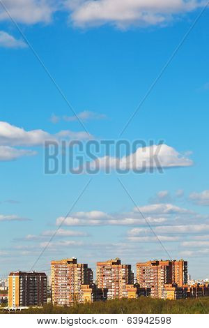 Residential District Under Bue Spring Sky