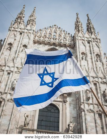 Israeli Flag During The Liberation Day Parade In Milan