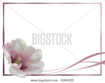Hollyhock flower notecard with ribbon and border