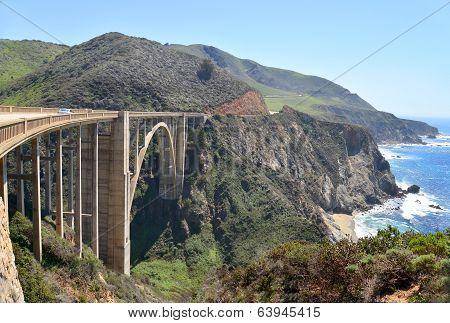 The Bixby Bridge (2) on the scenic Pacific Coast highway.