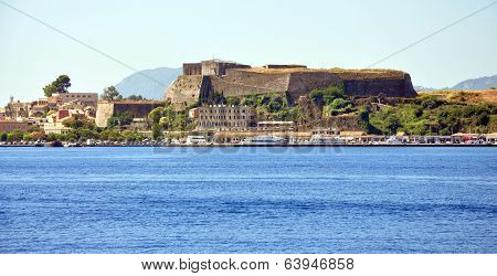 view of the fort and the town of Corfu, Greece, Europe